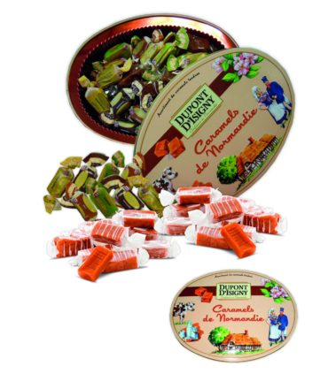Boite ovale assortiment caramels tendres 240g Dupont d'Isigny